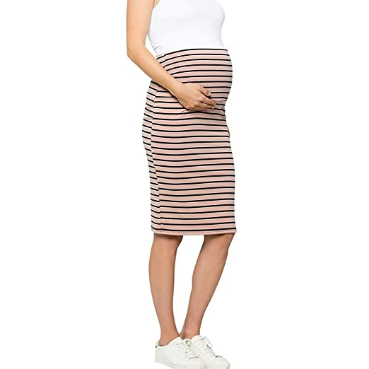 95f0616b98380 EDTO Women Maternity Dress, Comfort High Waisted Tummy Stripe Pencil Sleep  Skirt at Amazon Women's Clothing store: