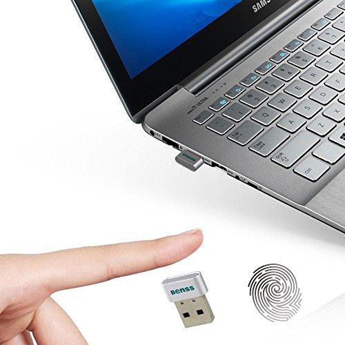 Benss Mini USB Fingerprint Reader Analyzer for Windows 10 Hello, Wireless Biometrics Computer Security Login Lock with WQHK Fido Certification for PC Laptop, 2 Years Warranty