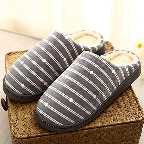 NUWFOR Men Warm Gingham Plush Soft Slippers IndoorsAnti-Slip Floor Bedroom Shoes(Gray,10.5-12 M US) by NUWFOR (Image #1)