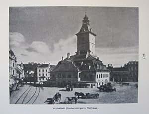 Transilvania, KRONSTADT: Ayuntamiento/diseño de la iglesia negra, visto por la ventana del negro estilo histórico de la torre - impresión fotográfica - 1926