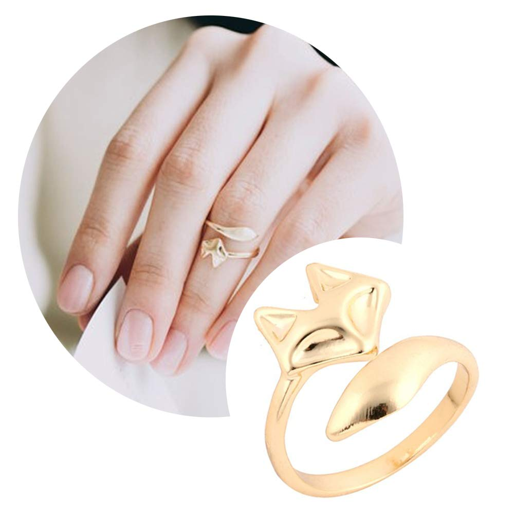CHOA Cute Exquisite Little Fox Open Ring - Female Tail Ring Rose Gold Opening Adjustable Index Finger Ring Fox Simple Tail Ring Titanium Steel Accessories Risu Jewelry