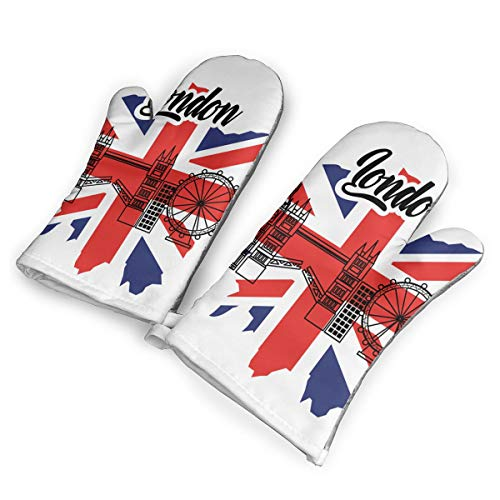 London Flag England Toruism Travel Landmark Heat Resistant to 500?? F,1 Pair of Non-Slip Kitchen Oven Gloves for Cooking,Baking,Grilling,Barbecue Potholders Oven Mitts Set