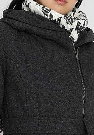 7b7014d81dea Even&Odd Mujer Abrigo Corto con Capucha - Elegante Long Chaqueta con  cinturón - Abrigo con Capucha de Lana con asymme trischem Cremallera -  Corta Abrigo: ...