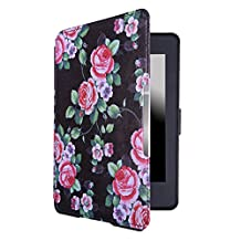 HDE Case for Kindle Paperwhite (2016, 2015, 2013, 2012) – Ultra Slim Cover Auto Sleep/Wake Smart Shell for All-New Amazon Kindle Paperwhite (Fits All Versions) - Black Floral