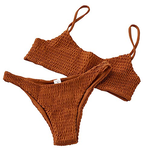 Kata Sexy Bathing Suit for Women Halter Shirred Bikini Solid Color Bikini Swimsuit with Color Orange in Size L (Shirred Knot)