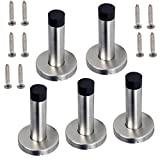 IGNPION Door Stop Heavy Duty Stainless Steel Door Stopper Brushed Finish Wall Mounted with Rubber Buffer (5 Pcs)