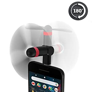 Google Pixel 3 Mini Fan, Wuedozue 180 Rotating Portable USB-C Cool Cooler Mobile Phone Fan Compatible with Pixel 3/ 3XL/ 2XL/ HTC/Huawei/LeEco/Sumsung/Essential PH-1 and More (Black)