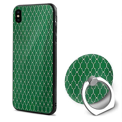 Quatrefoil iPhone x Cases,Four Leaf Clover Flower on Moroccan Trellis Mosaic Pattern Traditional Digital Print Green,Mobile Phone Shell Ring -