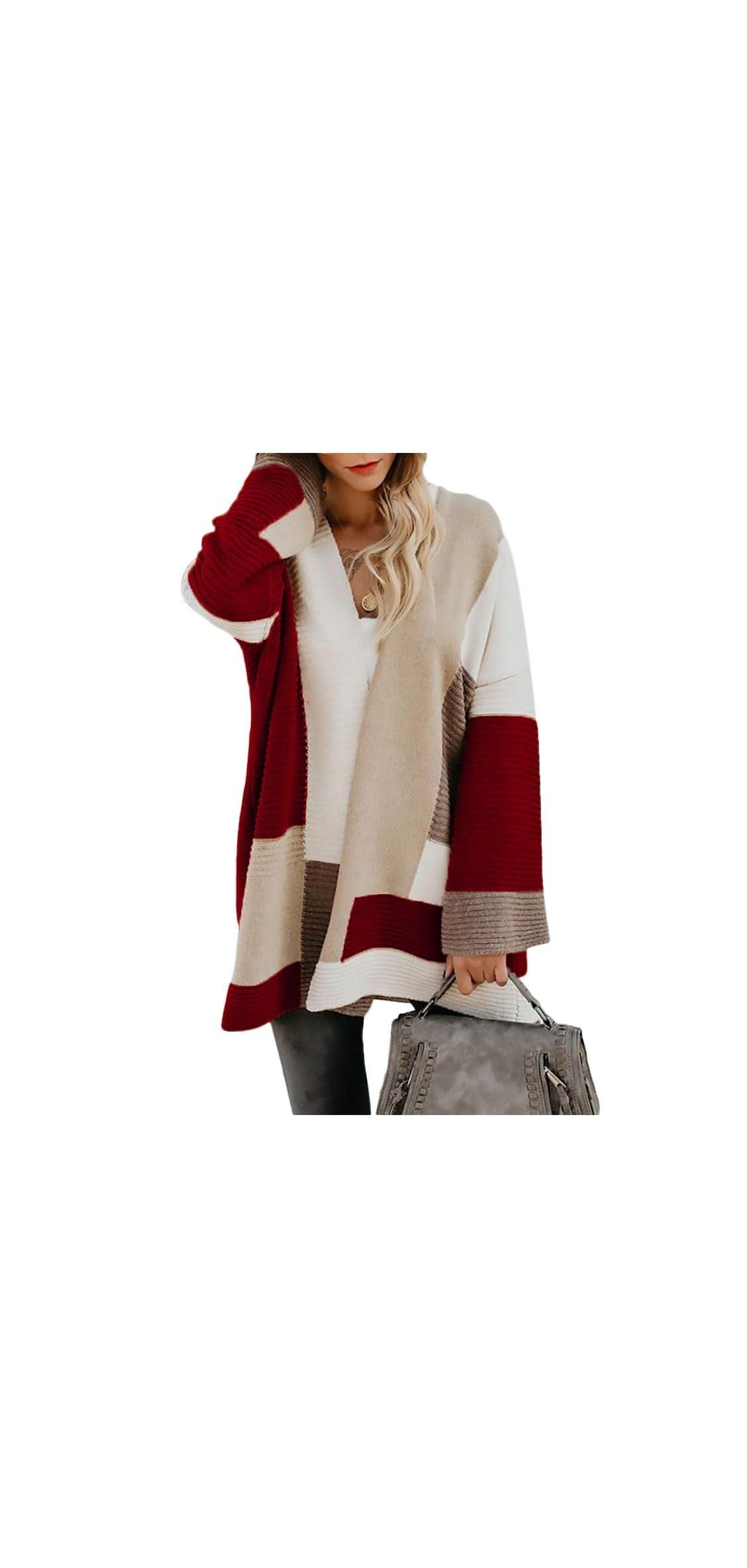 Women Sweater Cardigan Oversized Color Block Long Bell