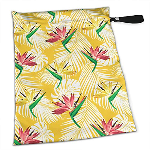 (Paradise Birds, Flowers and Plants for Swimsuit and Towels Waterproof Kids Baby Boy Clothes Diaper Hanging Reusable Menstrual Sanitary Cloth Pads Handle Wristlet Portable Wet-Dry Bag)