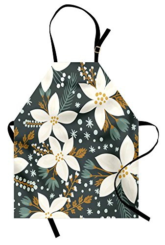 Ambesonne Floral Apron, Hand Drawn Poinsettia Flowers Garden Blossoms Hawaiian Inspired Art Print, Unisex Kitchen Bib Apron with Adjustable Neck for Cooking Baking Gardening, Caramel White ()