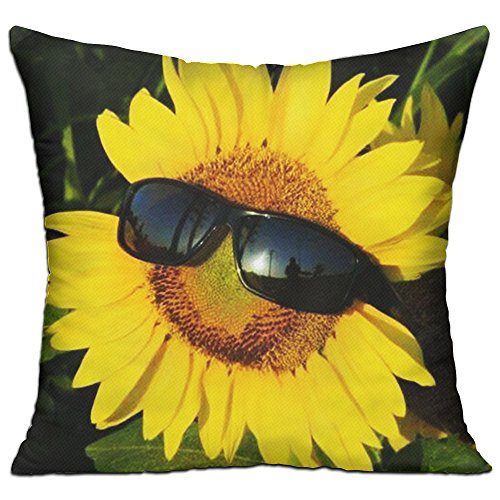 Funny Sunflowers With Sunglasses Modern Comfortable Throw Pillows For Chair,Sofa,Bed,Couch,Office,Indoor - Sunflower Sunglasses