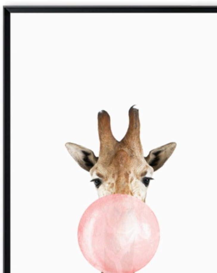 Meilijie Bubble Chewing Gum Giraffe Zebra Animal Posters Canvas Art Painting Wall Art Nursery Decorative Picture Nordic Style Kids Deco,4pcs Set,13x18cm No Frame