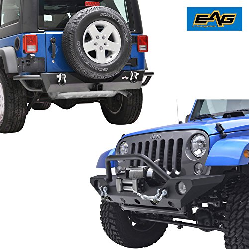 EAG 07-18 Jeep Wrangler JK Rock Crawler Front and Rear Bumper Combo - Winch Plate - Receiver Hitch (Front Aftermarket Bumpers)