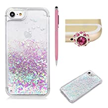 """SKYXD For iPhone 6 Plus/6S Plus Liquid Case,Luxury Floating Flowing 3D Novelty Design Bling Shiny Sparkle Pink and Blue Heart Glitter Plastic Pattern Hard Back Cover Protective Skin Cell Phone Cases For iPhone 6 Plus/6S Plus 5.5"""" + 1 x Touch Screen Stylus + 1 x Dust Plug"""