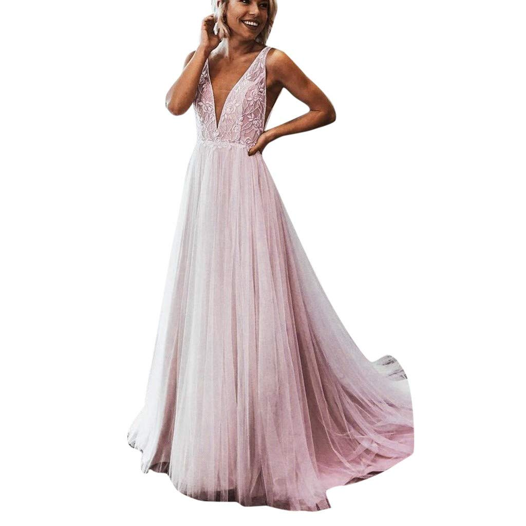 TYPEIN Women Bridesmaid Dress Sleeveless Maxi Evening Prom Dresses Sleeveless V-Neck Semi-Formal Maxi Evening Dress