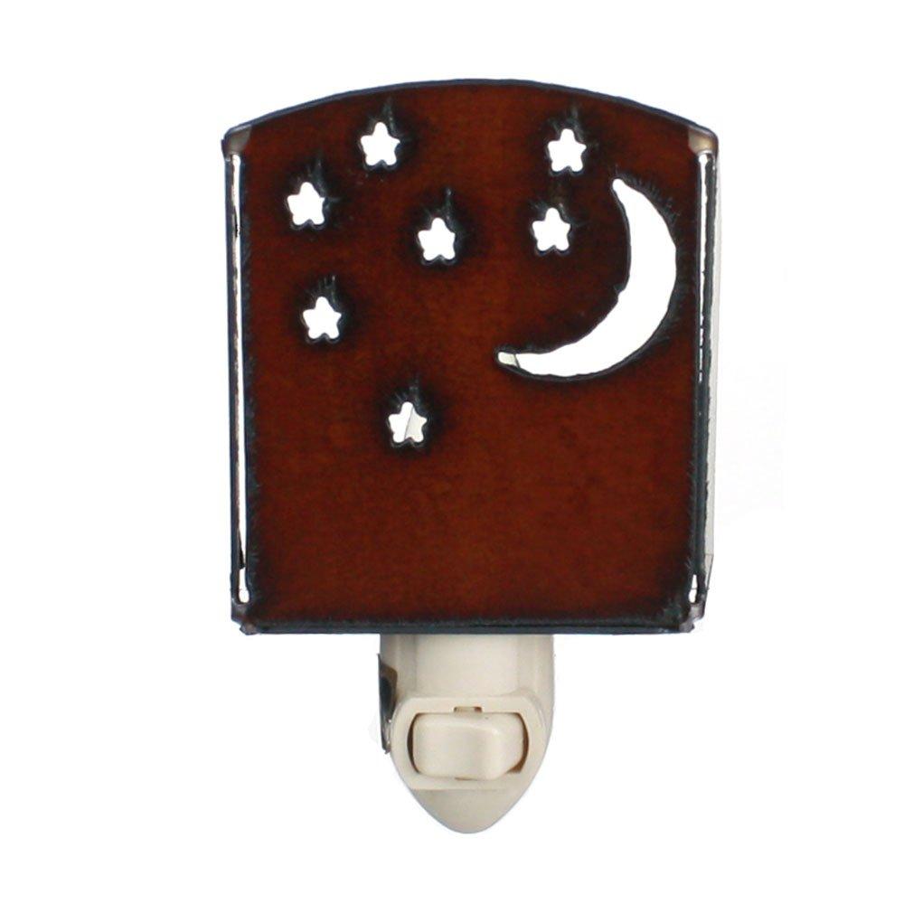 四半期月と星 – 素朴なメタルプラグin Night Light for、寝室Bathromsおよび廊下 – Made in USA 5