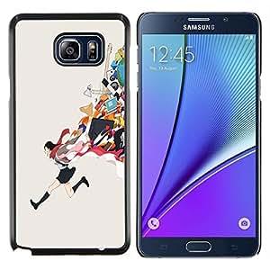 Chica lindo del dibujo animado en uniforme escolar- Metal de aluminio y de plástico duro Caja del teléfono - Negro - Samsung Galaxy Note5 / N920