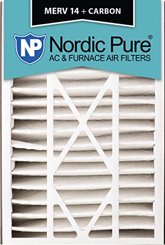 Nordic Pure 16x25x5 (4-7/8 Actual Depth) MERV 14 Plus Carbon Trion Bear 266649-105 Replacement Pleated AC Furnace Air Filter, 4 Piece