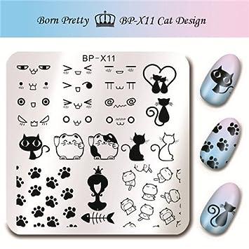 Amazon.com : BornPretty 66cm Square Nail Art Stamp Template Cute Cat ...