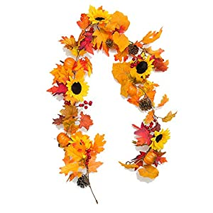 YXMYH Fake Fall Maple Leaf Garland Hanging Vine-Artificial Berries Sunflower Pumpkin Autumn Decoration for Wedding Party Thanksgiving Dinner Fireplace Door Frame Doorway Backdrop Decor,5.8 Feet 9