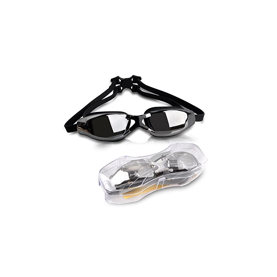 EDOBIL Swimming Goggles, Non Leaking Mirrored Goggles Swim Glasses With Comfort Fit, Anti Fog & UV Protection & Clear Vision for Adult Men Women Youth Kids