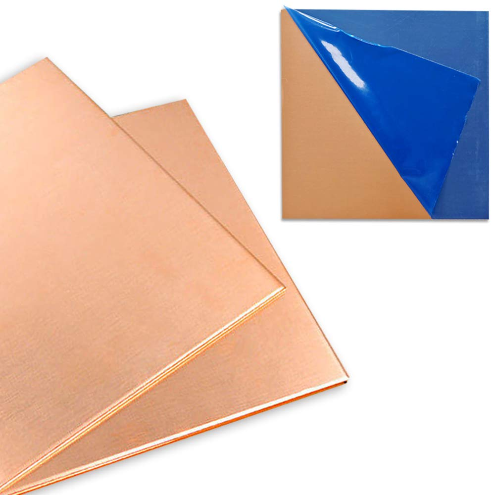 """2 Pcs 99.9%+ Pure Copper Sheet, 6"""" x 6"""", 20 Gauge(0.81mm) Thickness, No Scratches, Film Attached Copper Plates"""