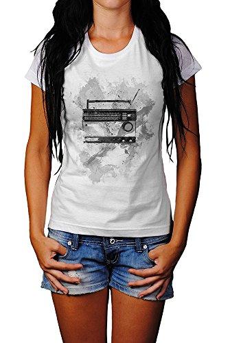 Vintage Radio T-Shirt Mädchen Frauen, weiß mit Aufdruck ...