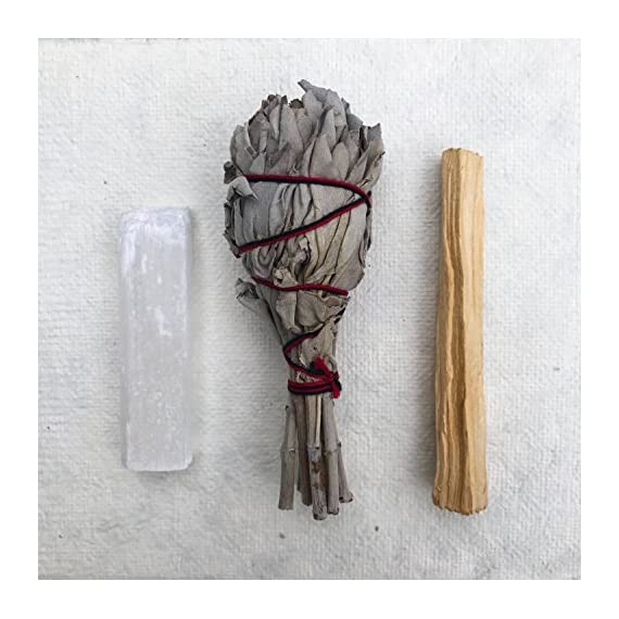 Sage Smudge Stick Kit - White Sage, Palo Santo, Mini Sage, Sage and Sweetgrass Smudging Sticks PLUS a Selenite Crystal & How to Guide for Cleansing your Home - Hand tied in California (Selenite) - SMUDGE STICK KIT: Our all natural sampler pack includes 4 smudge sticks and a selenite crystal - 2 white sage, 1 sage + sweetgrass, and a palo santo stick. Our sage and palo santo clear negative energy while sage and sweetgrass blesses your home with positive energy, love, and peace. Our smudging kit is the perfect way to try different smudge sticks. Each stick has its own woodsy, rustic, and earthy aroma. Non-toxic, vegan, and hand-tied in the USA. WILDHARVESTED, WHITE SAGE: Handpicked in California by a member of First Nation's American Metis during full flower season to ensure that the smoke from our white sage has the STRONGEST POTENCY. Our sage is PURE and 100% sustainable because we harvest during the optimal time of the plant's growth. We ask for the blessing of all good things to come from harvesting the newly matured leaf-clusters. Sage should be harvested properly with love, blessings, and sustainability. HOW TO GUIDE: Easy to follow, step-by-step instructions are included in each pack and will guide you through the simple process of smudging your home or yourself to help eliminate negative toxins or influences. - living-room-decor, living-room, home-decor - 517W4WMRy%2BL. SS570  -