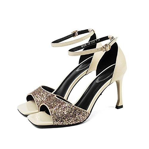 Sandaler Størrelse Eu Simple Sequined 36 Grå Kvinde Mode farve Sort Fine Broche Lædersko 3 2 Åben Tip Anchengkao EBn7qw1a7
