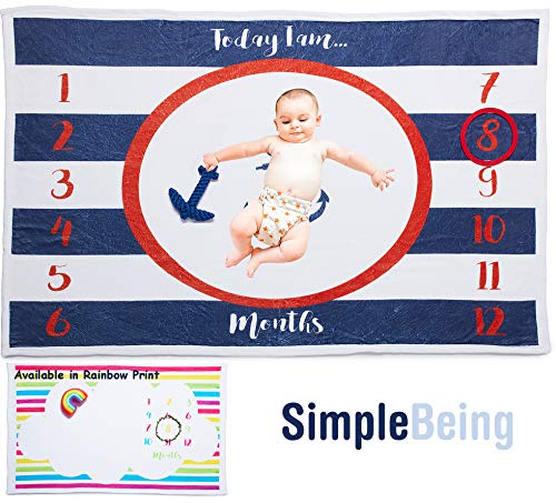(Simple Being Baby Monthly Milestone Blanket, Newborn Photography Props for Boys and Girls, Great Baby Shower Gift)