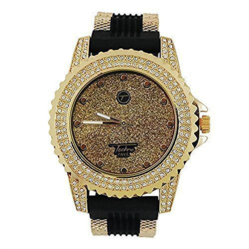 Mens Techno Pave Iced Out Lab Simulated Diamond Bottle Cap Gold Plated Tone Watch with Black Sports Band