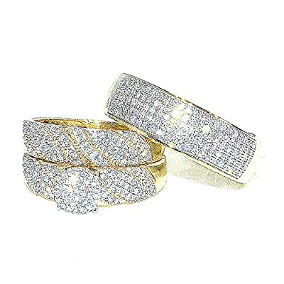 Trio Rings Wedding Set for His and Her 0.7cttw Diamonds 10K Gold( 0.7cttw)