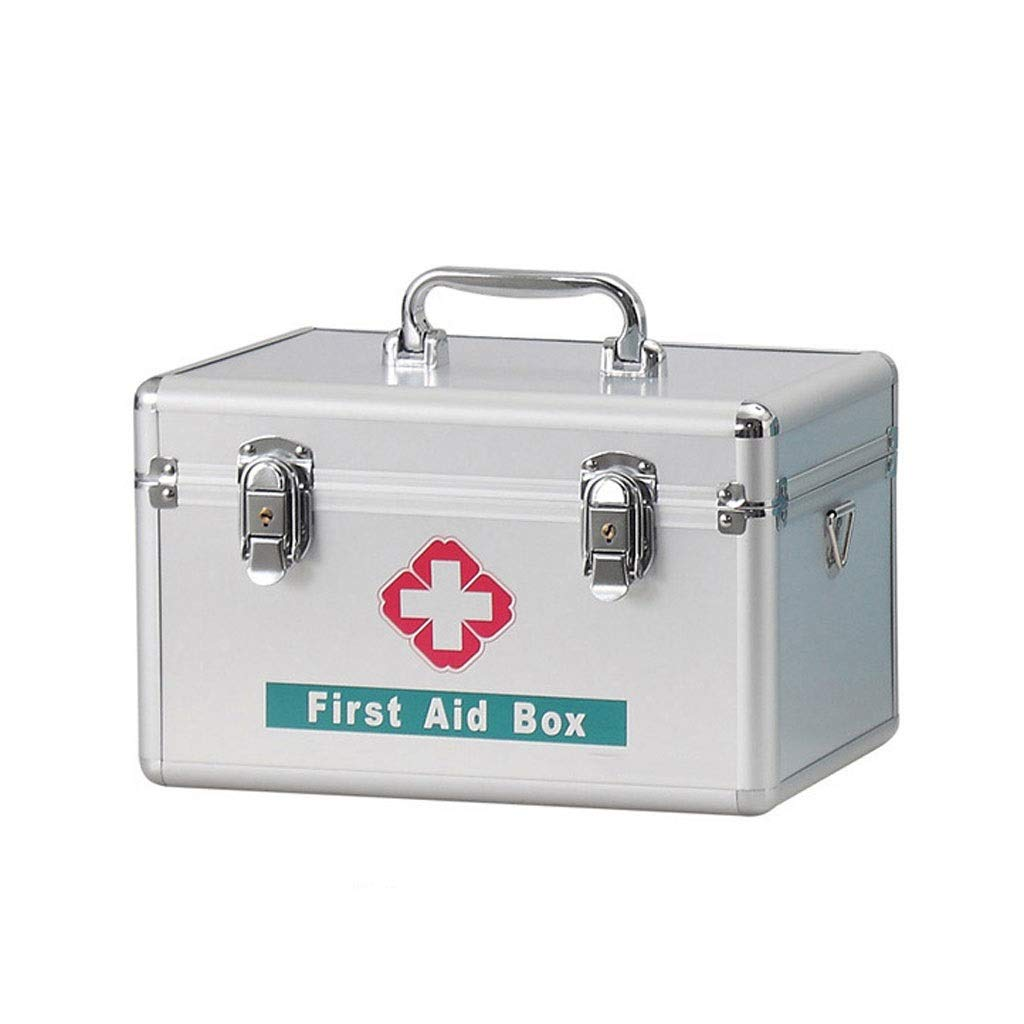 Medicine box Aluminum Alloy Silver Standing Medicine Storage Box Portable Outpatient First Aid Kit HUXIUPING (Size : 12 inch)