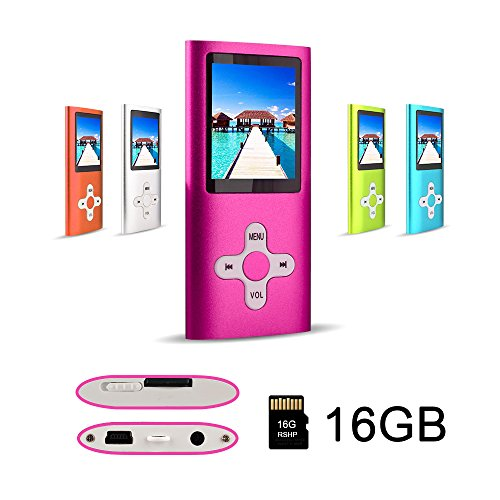 RHDTShop MP3 Player MP4 Player with a Internal 16GB Card, Ultra Slim 1.7 inch LCD Screen, Support UP to 64GB Card, Rechargeable Battery, Portable Digital Music Player, Video Player, E-Book,Pink