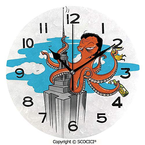 SCOCICI 10 inch Round Clock Retro Cartoon Octopus Illustrated As King Kong On Empire State Building and Lady in Tentacles Unique Wall Clock-for Living Room, Bedroom or Kitchen -