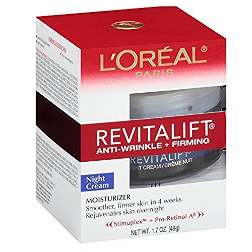 L Oreal Paris, RevitaLift Anti-Wrinkle Firming Night Cream Moisturizer 1.7 oz Pack of 3