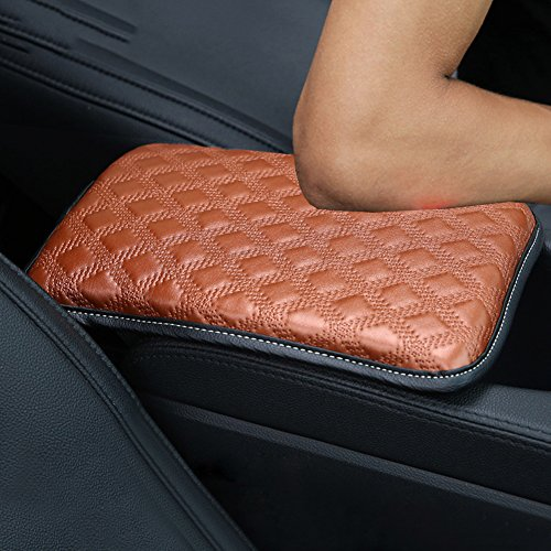 Alusbell Auto Center Console Pad, Car Armrest Seat Box Cover Protector Universal Fit (A-Brown)