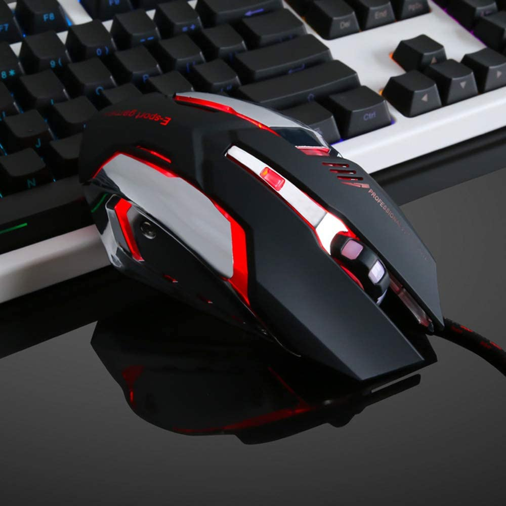 Side Buttons for Mac Win Games PC//MAC//Laptop Gaming Mouse 4 DPI Settings Up to 3200 DPI Gaming Mouse Ergonomic Optical Mouse