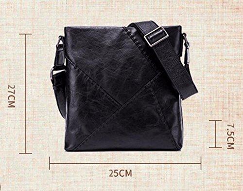 de de negro vertical Los hombres coser abarca que skew bolso casual maleta cuero bolsa hombro Surnoy cara la suave de zERqw
