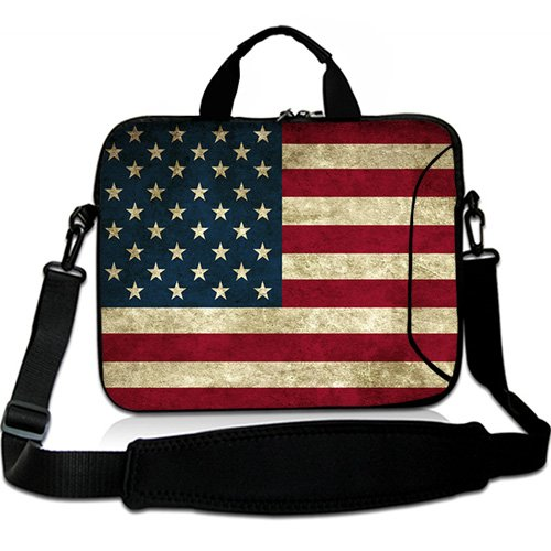 Wondertify 15-15.6 Inch Water-resistant Neoprene Laptop Shoulder Bag Sleeve Briefcase - Usa Flag Laptop Carrying Bag Case for Macbook/ASUS/HP/Toshiba/Dell/Laptop/Ultrabook/Notebook/Men/Women