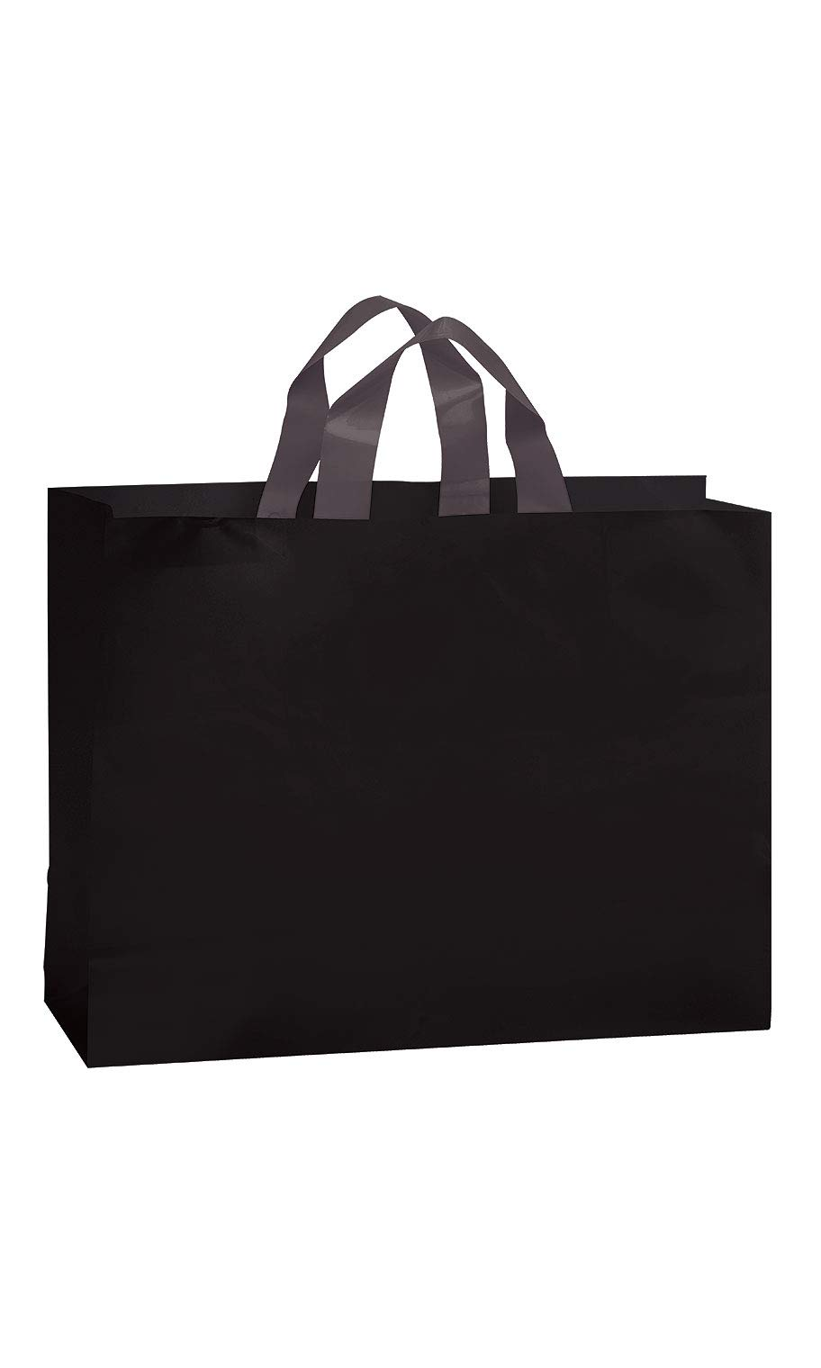 SSWBasics Large Black Frosted Plastic Shopping Bags - 16'' x 6'' x 12'' - Case of 100
