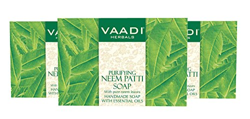 Herbal Handmade Soap - Neem Soap (Neem Leaves Bar Soap) - Handmade Herbal Soap (Aromatherapy) with 100% Pure Essential Oils - ALL Natural - Prevents Premature Aging - Each 2.65 Ounces - Pack of 3 (8 Ounces) - Vaadi Herbals