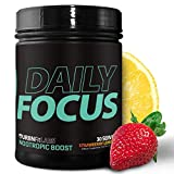 Daily Focus Nootropic Brain and Memory Booster Powder Supplement | Increased Energy, Clarity, Focus and Stamina | Heightened Mental Performance and Smart Brain Function | 30 Servings