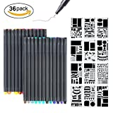 Bullet Journal Supplies, MaleDen 24 Colored Fine Tip Markers Planner Pens with 12 Journaling Stencils Set for Note Taking Notebook Scrapbook Calendar