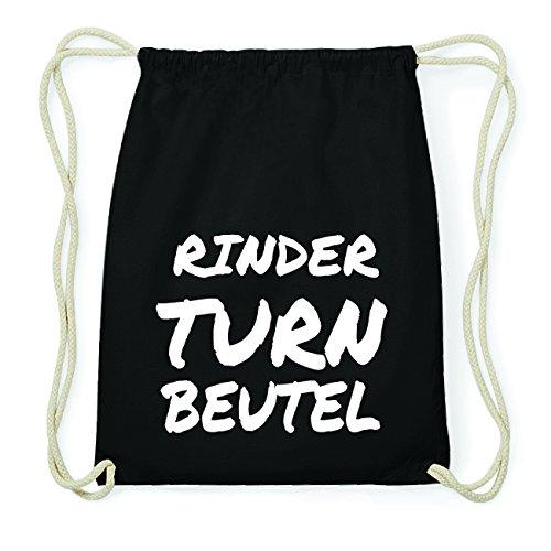 JOllify RINDER Hipster Turnbeutel Tasche Rucksack aus Baumwolle - Farbe: schwarz Design: Turnbeutel