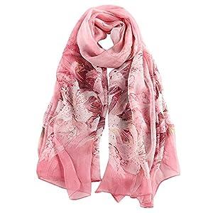 STORY OF SHANGHAI Donna Mulberry Flower Stampa Grandi scialle di seta involucri della sciarpa