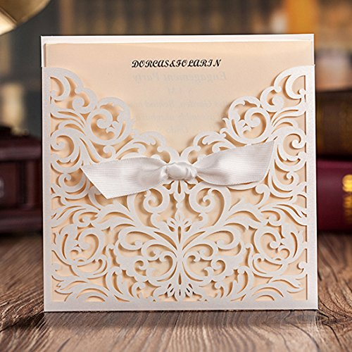 Wishmade 100x White Laser Cut Tri-fold Lace Wedding Invitations Cards with Bow Hollow Favors Invitations for Engagement Baby Shower Birthday Quinceanera(set of 50pcs) CW5002