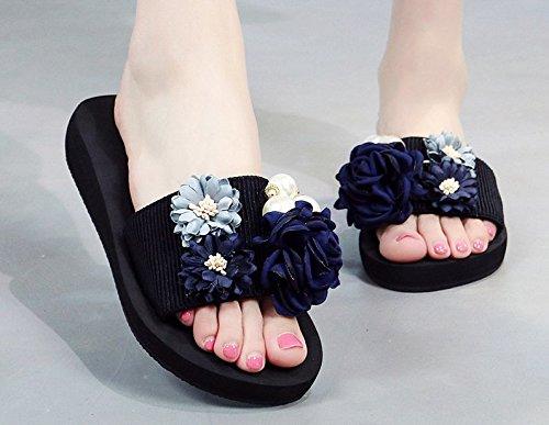 Desgaste Mujer Flores Inferior Blue Para Chanclas Grueso Antideslizante Awxjx Pendiente Exterior Beach HwqUIR