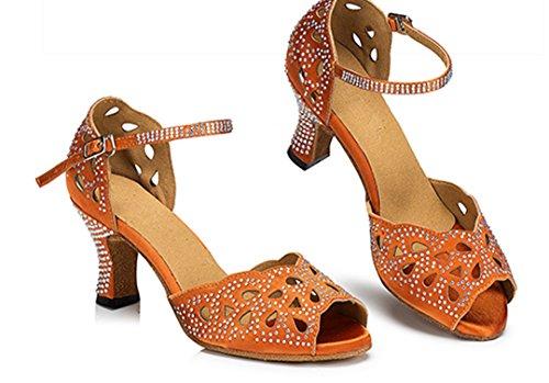 Tda Womens Comfort Cut-out Cristallo Tacco Alto Salsa Tango Da Ballo Latino Dance Party Scarpe Da Sposa Arancione